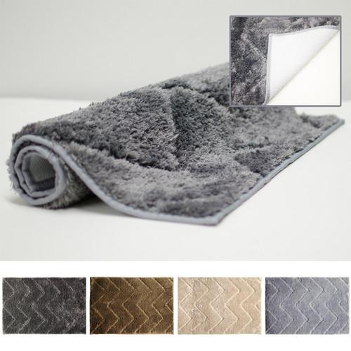 "Julia 20""x30"" Microfiber Bathroom Rug, Mat, Floor Cover, Ribbed Design"
