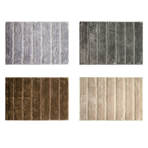 "Nadia Microfiber 20""x30"" Bathroom Rug, Mat, Floor Cover, Ribbed Design"