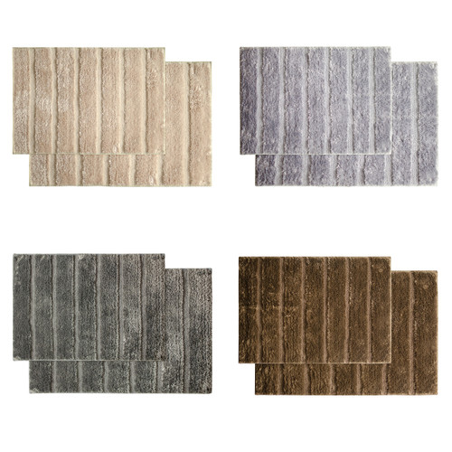 "Nadia 2pc Microfiber Bathroom Rug, Mat, Floor Cover, Ribbed Design, 20""x30""  & 17""x24"""