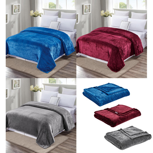 Noble House May Velvet Plush Solid Color Blanket, Queen, King, Grey, Burgundy, Teal