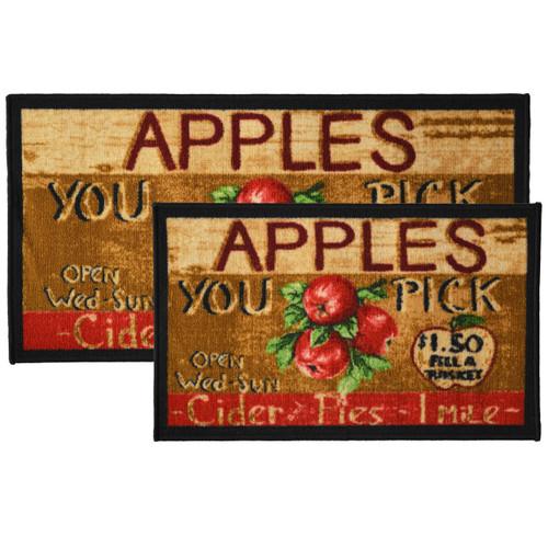 2pc Apple Cider Kitchen Rug Set, Area Rug, Mat, Carpet, Non-Skid Latex Back