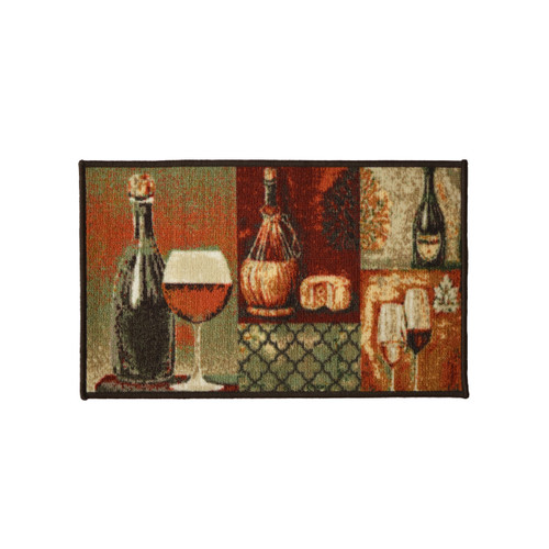 Cheese and Wine 18x30 Rectangle Kitchen Rug, Area Rug, Mat, Carpet, Non-Skid Latex Back
