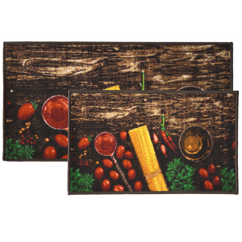 2pc Pasta Kitchen Rug Set, Area Rug, Mat, Carpet, Non-Skid Latex Back (18x30 Rectangle & 20x40)