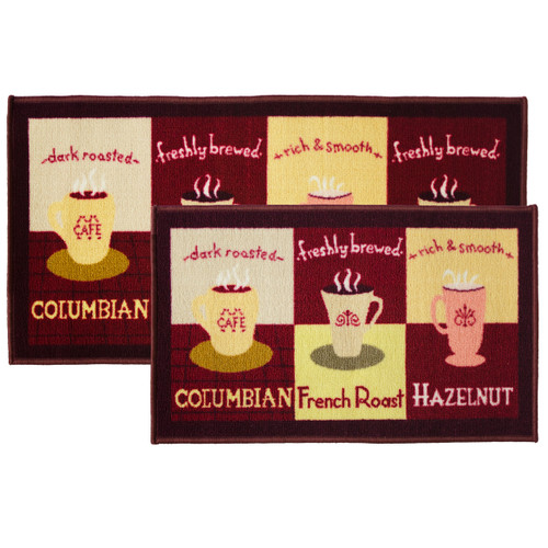 2pc Coffee Cup Kitchen Rug Set Area Rug Mat Carpet Non Skid Latex Back 18x30 Rectangle 20x40
