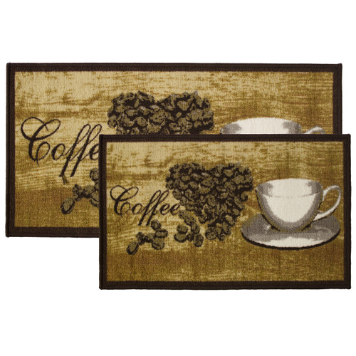 2pc Roasted Heart Kitchen Rug Set, Area Rug, Mat, Carpet, Non-Skid Latex Back (18x30 Rectangle & 20x40)