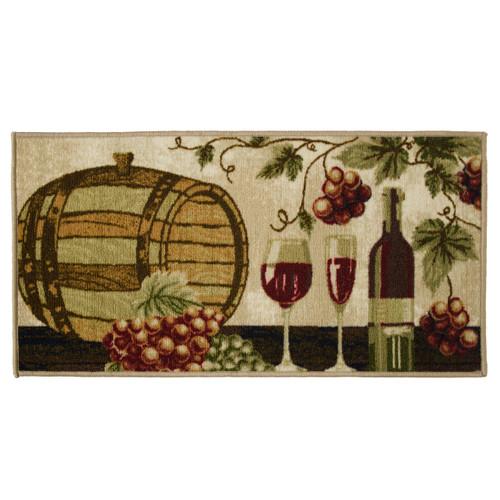 Wine Barrel 20x40 Rectangle Kitchen Rug, Area Rug, Mat, Carpet, Non-Skid Latex Back