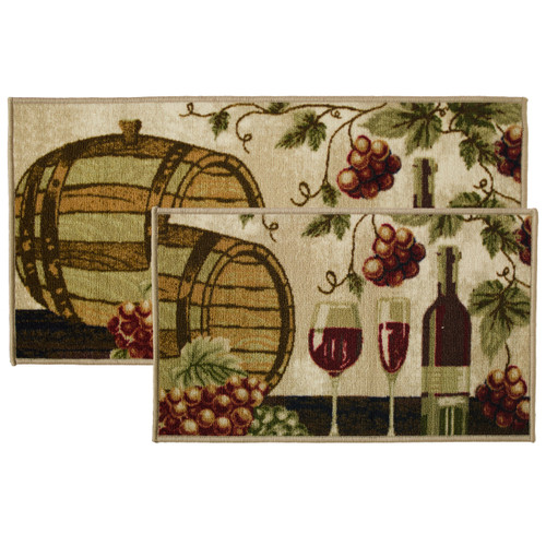 2pc Wine Barrel Kitchen Rug Set, Area Rug, Mat, Carpet, Non-Skid Latex Back (18x30 Rectangle & 20x40)
