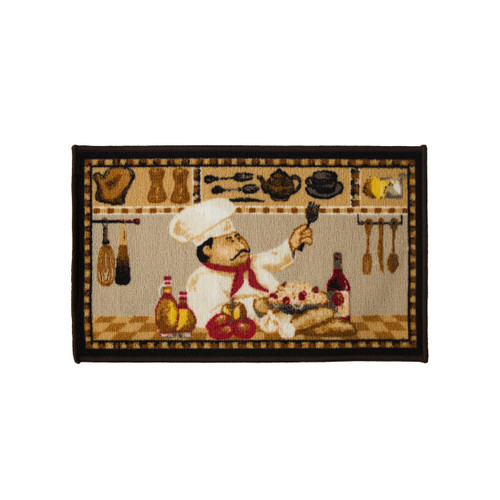 Wine Chef 18x30 Rectangle Kitchen Rug, Area Rug, Mat, Carpet, Non-Skid Latex Back