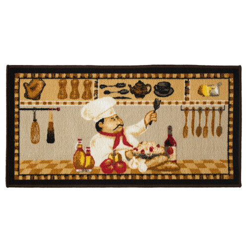 Wine Chef 20x40 Rectangle Kitchen Rug, Area Rug, Mat, Carpet, Non-Skid Latex Back