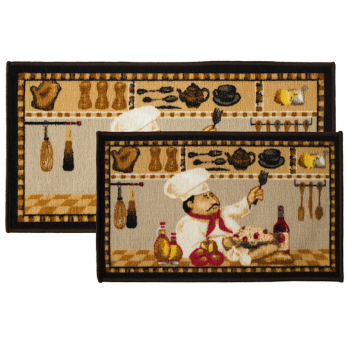 2pc Wine Chef Kitchen Rug Set, Area Rug, Mat, Carpet, Non-Skid Latex Back (18x30 Rectangle & 20x40)