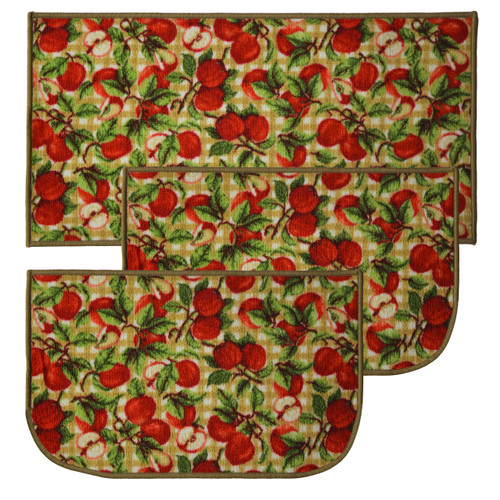 "Picnic Apple 3pc Kitchen Rug Set, (2) Slice 18""x30"" Rugs, (1) 20""x40"" Mat, Non-Slid Latex Back"