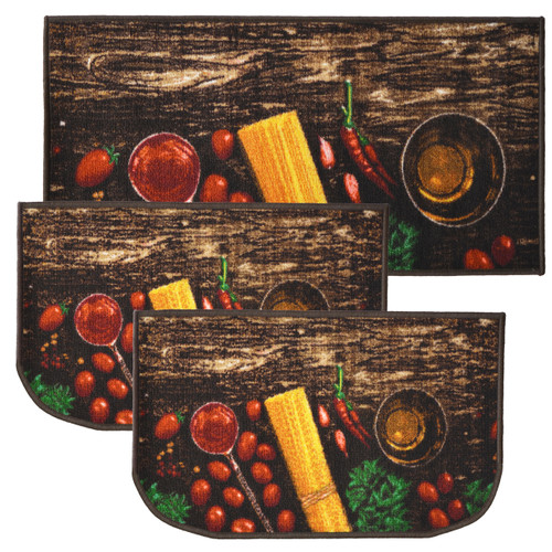 "Pasta 3pc Kitchen Rug Set, (2) Slice 18""x30"" Rugs, (1) 20""x40"" Mat, Non-Slid Latex Back"