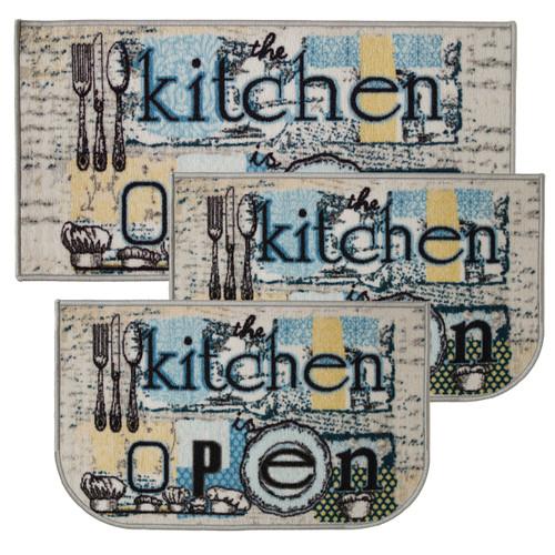 """Open Kitchen 3pc Kitchen Rug Set, (2) Slice 18""""x30"""" Rugs, (1) 20""""x40"""" Mat, Non-Slid Latex Back"""