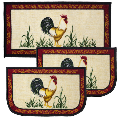 """Dot Rooster 3pc Kitchen Rug Set, (2) Slice 18""""x30"""" Rugs, (1) 20""""x40"""" Mat, Non-Slid Latex Back"""