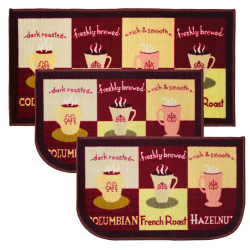 """Coffee Cup 3pc Kitchen Rug Set, (2) Slice 18""""x30"""" Rugs, (1) 20""""x40"""" Mat, Non-Slid Latex Back"""