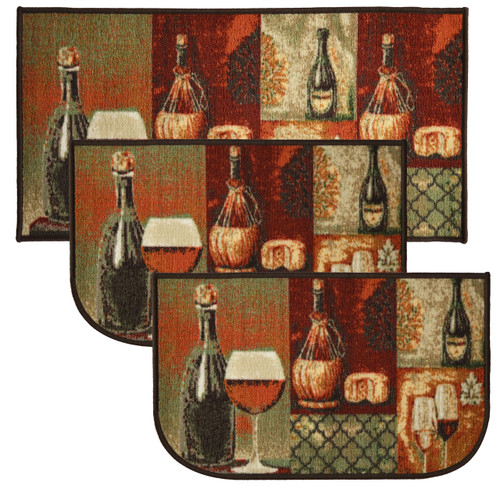 "Cheese & Wine 3pc Kitchen Rug Set, (2) Slice 18""x30"" Rugs, (1) 20""x40"" Mat, Non-Slid Latex Back"