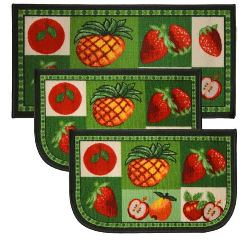"Mixed Fruit 3pc Kitchen Rug Set, (2) Slice 18""x30"" Rugs, (1) 20""x40"" Mat, Non-Slid Latex Back"