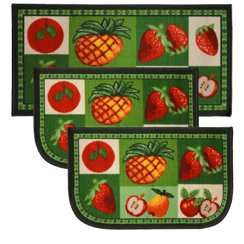 "Mixed Fruit 3pc Kitchen Rug Set, (2) Slice 18""x30"" Rugs, (1) 20""x40"" Mat, Non-Slid Latex Back"