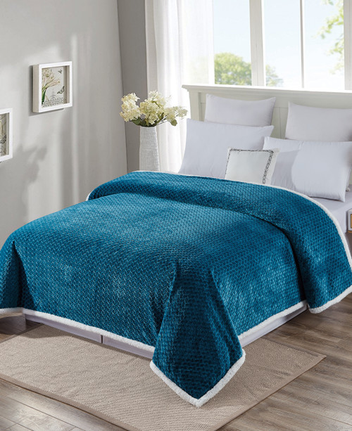 Luxurious Soft Braided Sherpa Lined Blanket, Queen, King, 6 Colors