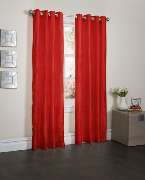 """Sherry Crushed Satin Window Curtain Panel - 52""""x84"""" - Red"""