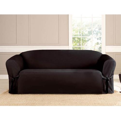 Black Microsuede Slipcover Sofa