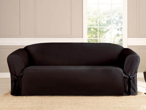 Black 2-Piece Microsuede Slipcover Set