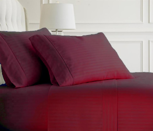Burgundy Embossed Dobby Striped Sheet Set
