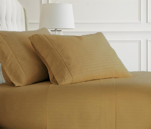 Gold Embossed Dobby Striped Sheet Set