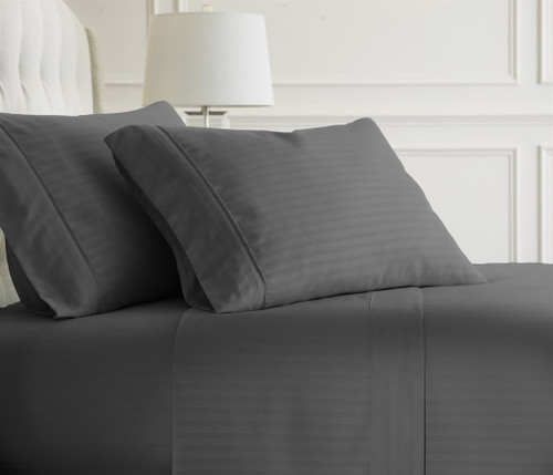 Gray Embossed Dobby Striped Sheet Set