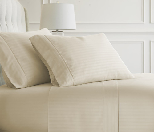 Ivory Embossed Dobby Striped Sheet Set