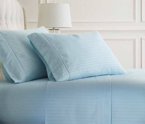 Light Blue Embossed Dobby Striped Sheet Set