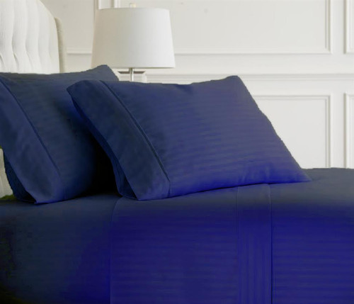 Navy Embossed Dobby Striped Sheet Set