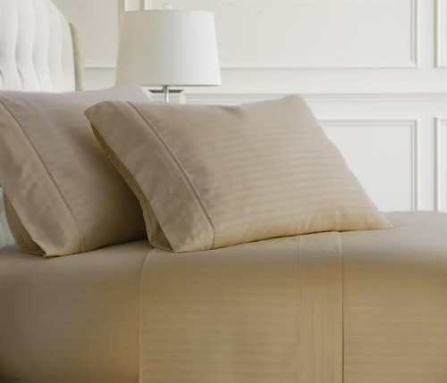 Taupe Embossed Dobby Striped Sheet Set