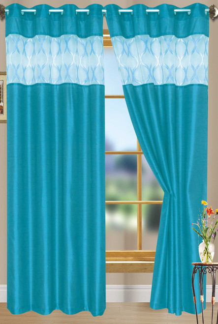 "Bali Faux Silk Curtain Panel 2 Pack, 54""x84"" - aqua"