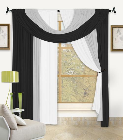 Bella Window in a Bag 4 Pc Curtain Set - Black/White