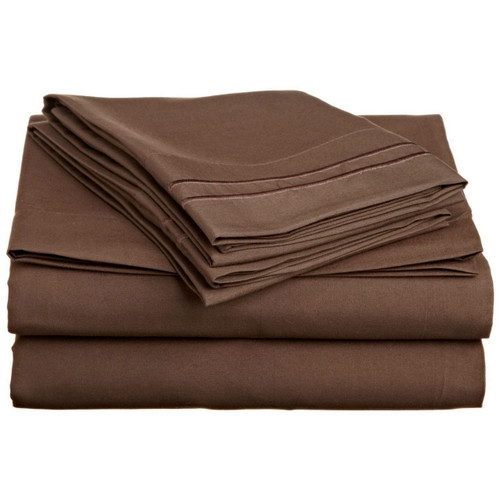 Dual Line Embroidered 4 Piece Sheet Set - Chocolate