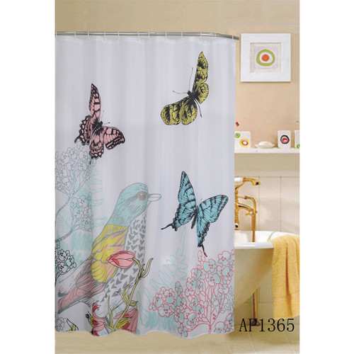 "Cardinal Shower Curtain, Bird & Butterflies Printed, 70""x70"" (K-SC032941)"