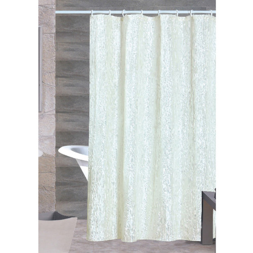 Sherry Crushed Satin Shower Curtain Beige