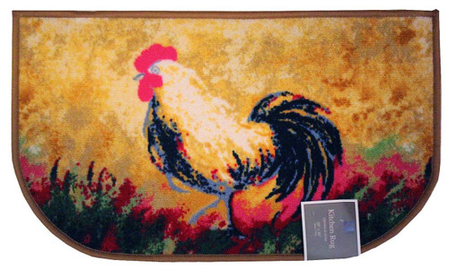 "D-Shape Non-Skid Rooster Kitchen Rug, Decor Kitchen Mat, Area Rug - 18""x30"""