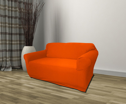 Kashi Home Jersey Loveseat Stretch Slipcover, Couch Cover - Orange