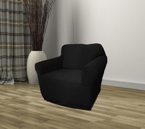 Kashi Home Stretch Jersey Chair Slipcover - Black