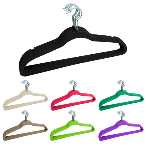 Linen Store Velvet Slim Hangers 120 Pack - 7 Colors