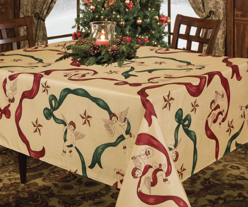 Christmas Holiday Design Fabric Tablecloth, Cherub