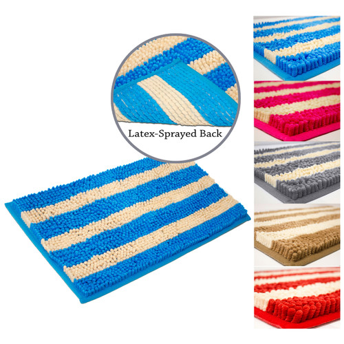 Cabana Soft Plush Stripe Chenille Yarn Bath Mat, Bath Rug, Latex Spray Backing