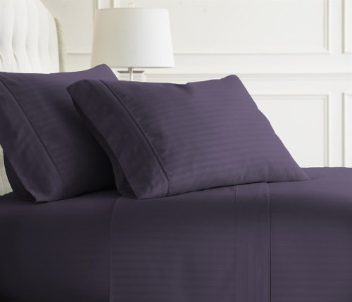 Embossed Dobby Stripe Sheet Set Purple