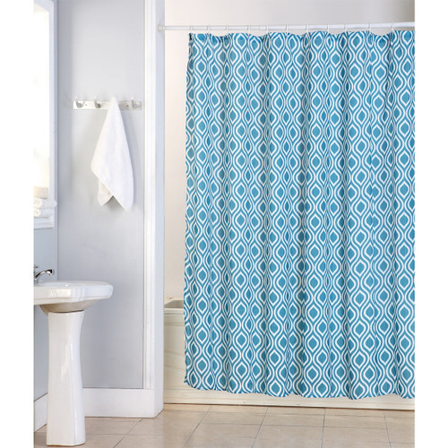 "Tina Fabric Shower Curtain, 70""x70"", Lattice Printed Design"