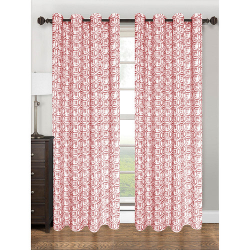 Printed Geometric Design Grommet Top Window Curtain Panel, Emma, 55x84, 1 Panel