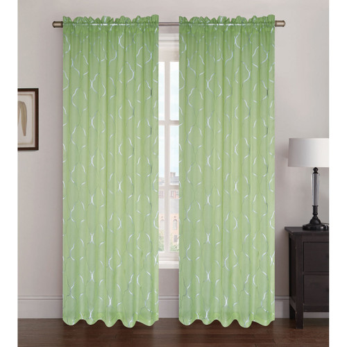 "Sheer Voile Window Curtain Panel With Rod Pocket, Printed Silver Lattice Pattern, Ava, 55"" X 84"""