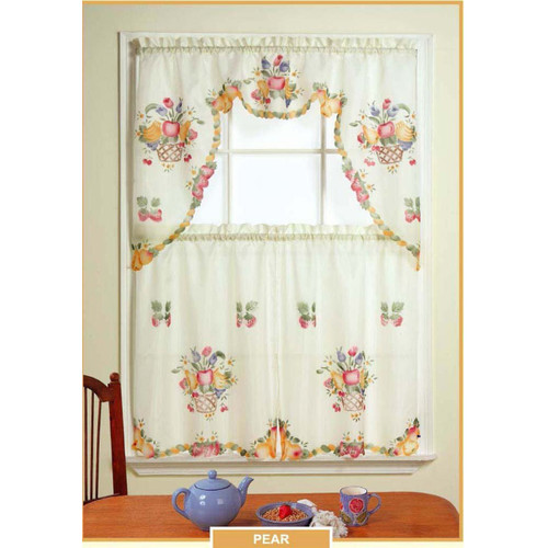 Sheradian 3 Piece Fruit Printed Kitchen Curtain Set - Pear
