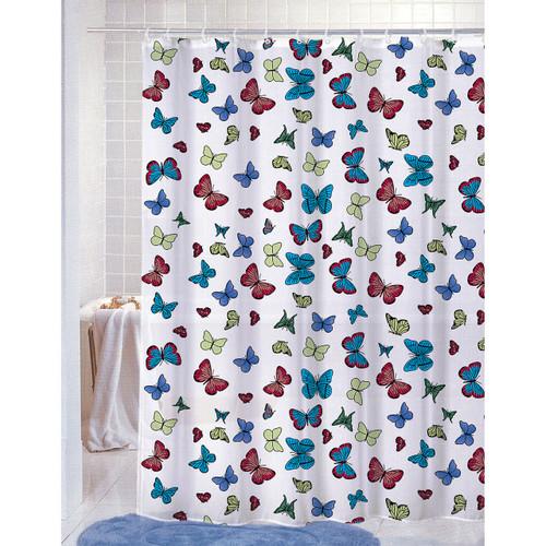 PVC Free (PEVA) Printed Shower Curtain, Butterflies Print, 70x72, Carli (K-SC039773)